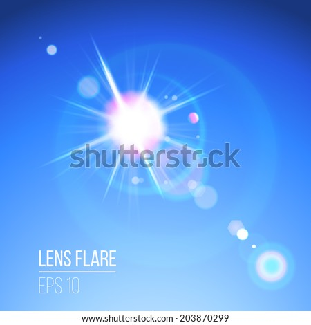 Sun with lens flare over blue sky - stock vector