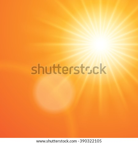 Sun with lens flare sunset orange sky vector background.