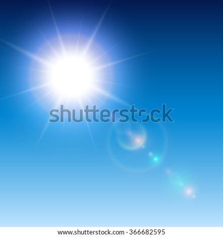 Sun with lens flare, vector background. - stock vector