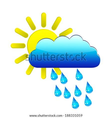sun with raincloud and raindrops - stock vector
