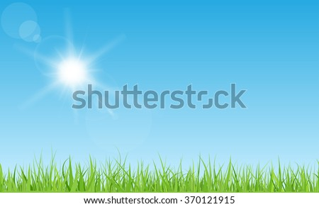 Sun with rays and flares on blue sky. Green grass lawn. - stock vector