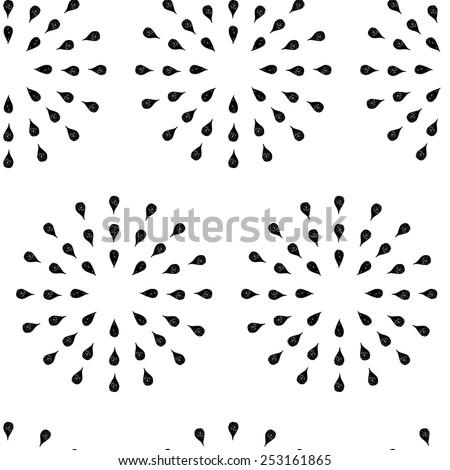 Sunburst background, ink hand drawn pattern, seamless doodle background, vintage vector pattern, abstract illustration - stock vector