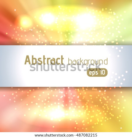 Sunburst background with glittering stars. Beautiful rays of light.  Vector illustration. Yellow, orange, white colors