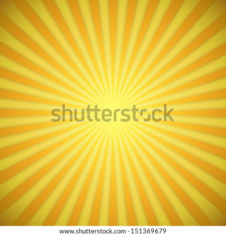 Sunburst bright yellow and orange vector background with shadow effect. - stock vector
