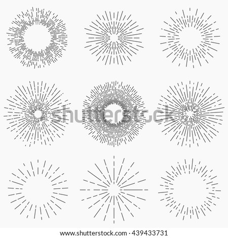 Sunburst collection, line design, vector illustration EPS 10 - stock vector