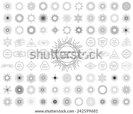 Sunbursts and borders collection. Vector illustration. - stock vector
