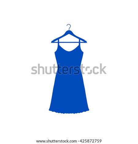 Sundress, Evening dress, combination or nightie on the wardrobe hanger , the silhouette. Menu item in the web design. - stock vector