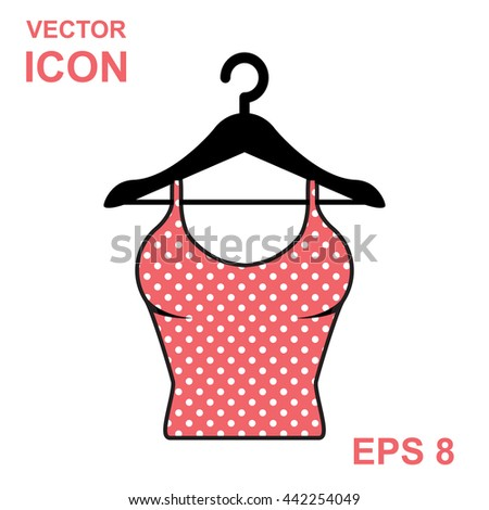 Sundress vector icon. Evening dress. Pink dotted combination or nightie silhouette. - stock vector