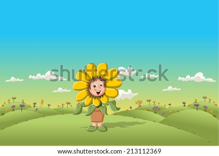 Sunflower cartoon girl on green park - stock vector