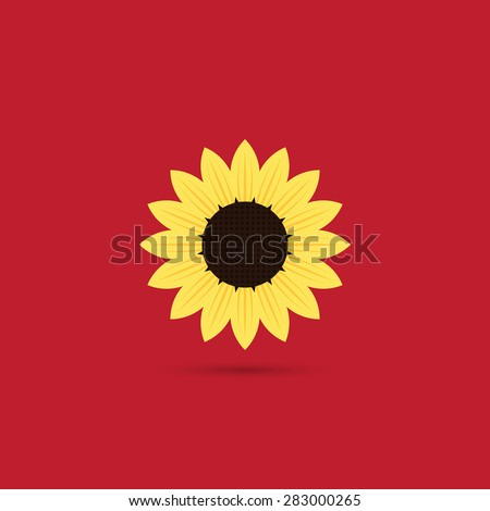 Sunflower icon, flat style - Vector - stock vector