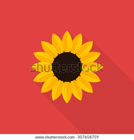 Sunflower icon with long shadow, flat style - Vector - stock vector