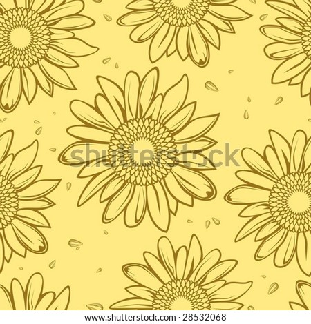 sunflower seamless background - stock vector