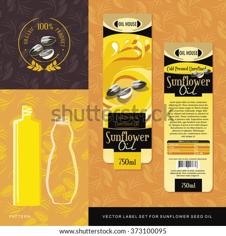 Sunflower Seed Oil vector label set - stock vector