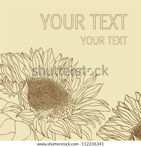 sunflower silhouette  background - stock vector