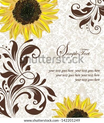 Sunflower Wedding Invitation. Brown and Yellow - stock vector