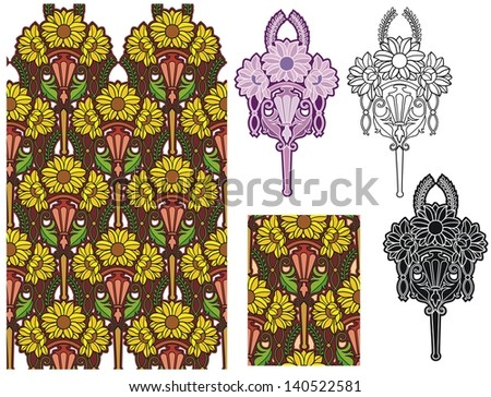 sunflowers art nouveau wallpaper with seamless tile and alternate design elements - stock vector