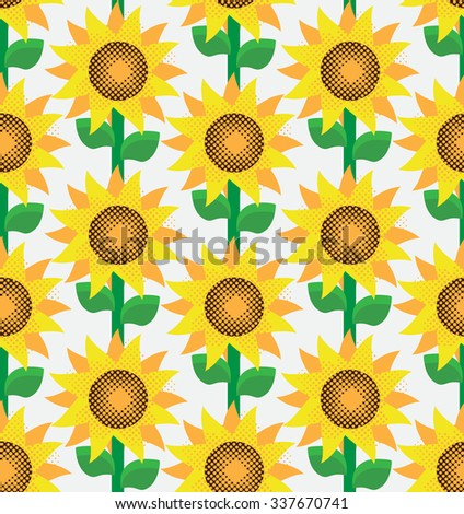 Sunflowers seamless - stock vector