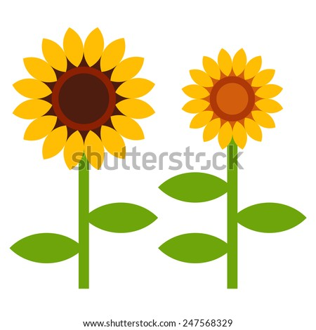 Sunflowers symbol isolated on white background - stock vector
