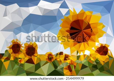 Sunflowers traced in vector triangular - stock vector