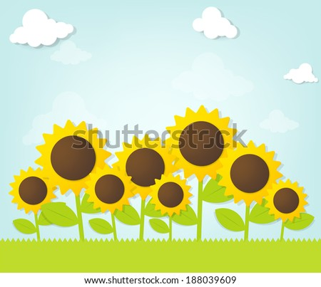 Sunflowers under blue sky - stock vector