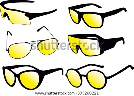 Sunglasses and a white background - stock vector