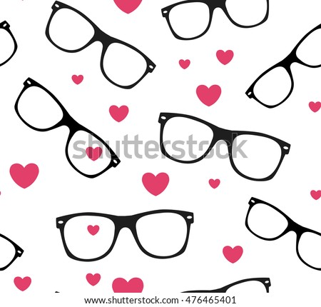 sunglasses and hearts vector background