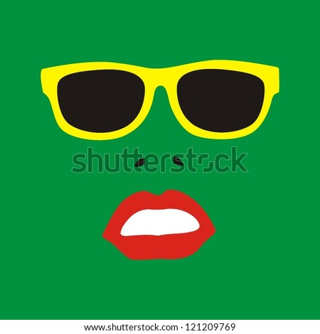 Sunglasses and lips silhouette. Vector - stock vector