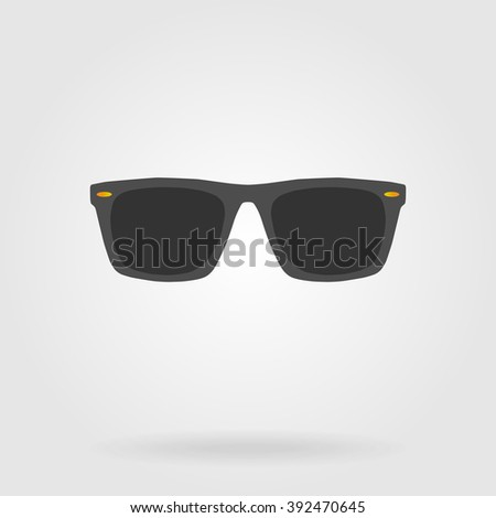 Sunglasses flat icon. Monochrome glasses with color, contrast, bright elements. Vector illustration for your design - stock vector