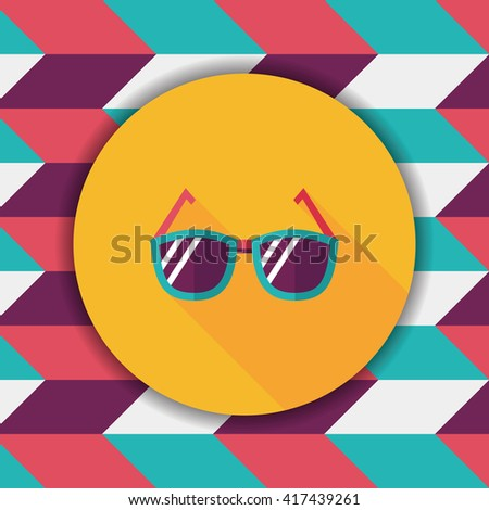 Sunglasses flat icon with long shadow - stock vector