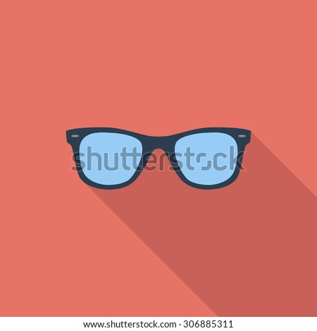 Sunglasses icon. Flat vector related icon with long shadow for web and mobile applications. It can be used as - logo, pictogram, icon, infographic element. Vector Illustration. - stock vector