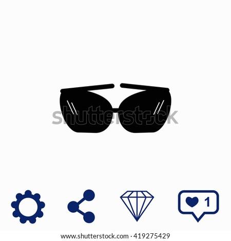 Sunglasses icon. Sunglasses icon vector. Sunglasses icon illustration. Sunglasses icon web. Sunglasses icon Eps10. Sunglasses icon image. Sunglasses icon logo. Sunglasses icon sign. - stock vector