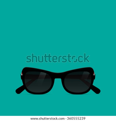 Sunglasses on the blue background