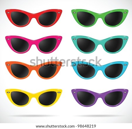 Sunglasses set (cats-eye shaped/multicolored/isolated) -vector illustration Shadow and background are on separate layers. Transparent lens. Easy editing. - stock vector
