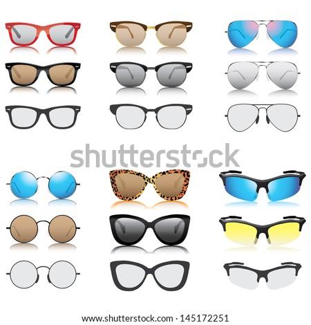 Sunglasses set vector - stock vector