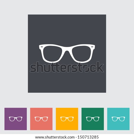 Sunglasses. Single flat icon. Vector illustration. - stock vector