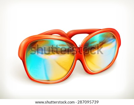 Sunglasses, vector icon - stock vector
