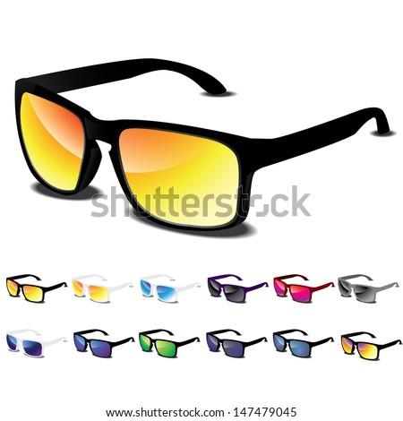 Sunglasses vector icon set - stock vector