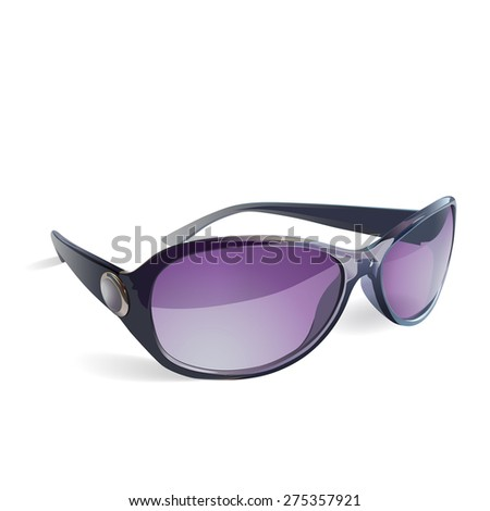 Sunglasses vector isolated with purple glasses and a decorative insert on the side