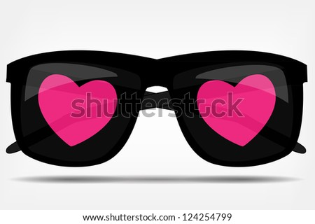 Sunglasses with a heart vector illustration - stock vector