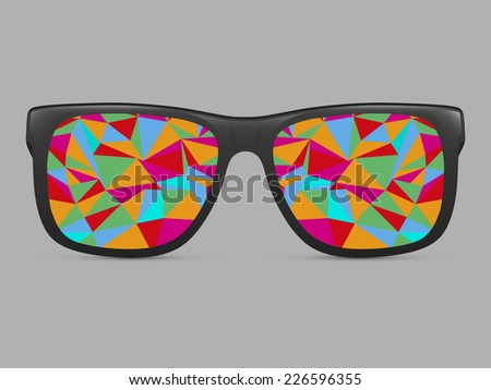 sunglasses with abstract geometric triangles. vector background - stock vector