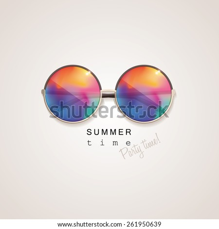 sunglasses with vivid multicolored abstract gradient mesh glass mirrors isolated on light background with summer time, party time lettering typography - stock vector