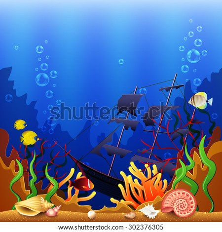 Sunken ship underwater background colorful detailed vector background - stock vector