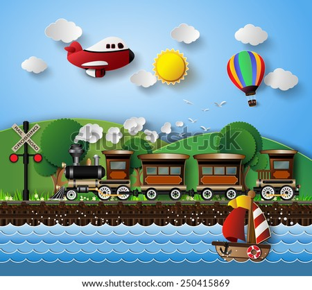 sunlight on cloud with Transport and Vehicles.paper art style.