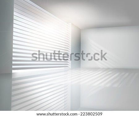 Sunlit window with blinds. Vector illustration. - stock vector