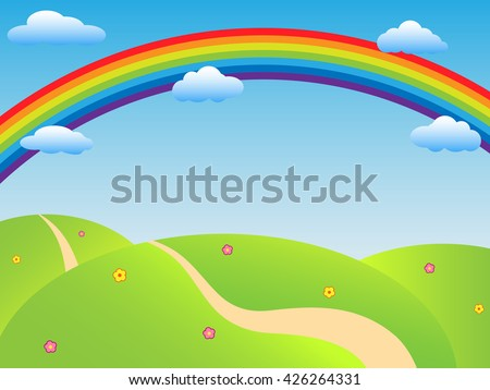 Sunny Background Landscape Vector.