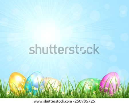 Sunny background with blue sky and Easter eggs in the grass, illustration.