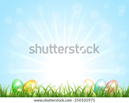 Sunny background with Easter eggs and blue sky, illustration. - stock vector