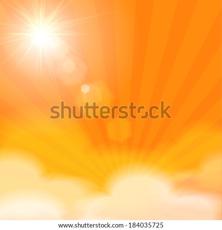 Sunny background with sun burst, white clouds and lens flare. Vector illustration