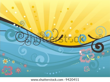 sunny beach background - stock vector