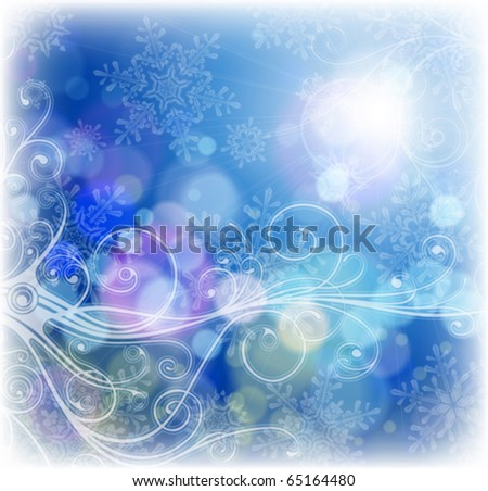 sunny blue sky, snowflakes & floral ornament - stock vector